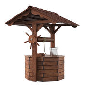 Wooden Well House 3d model