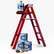 Ladder with Paint cans 3d model