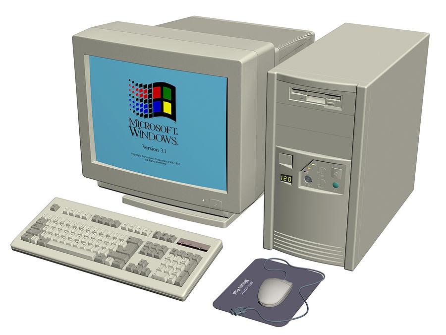 Gammal personlig dator för PC för vintage royalty-free 3d model - Preview no. 7