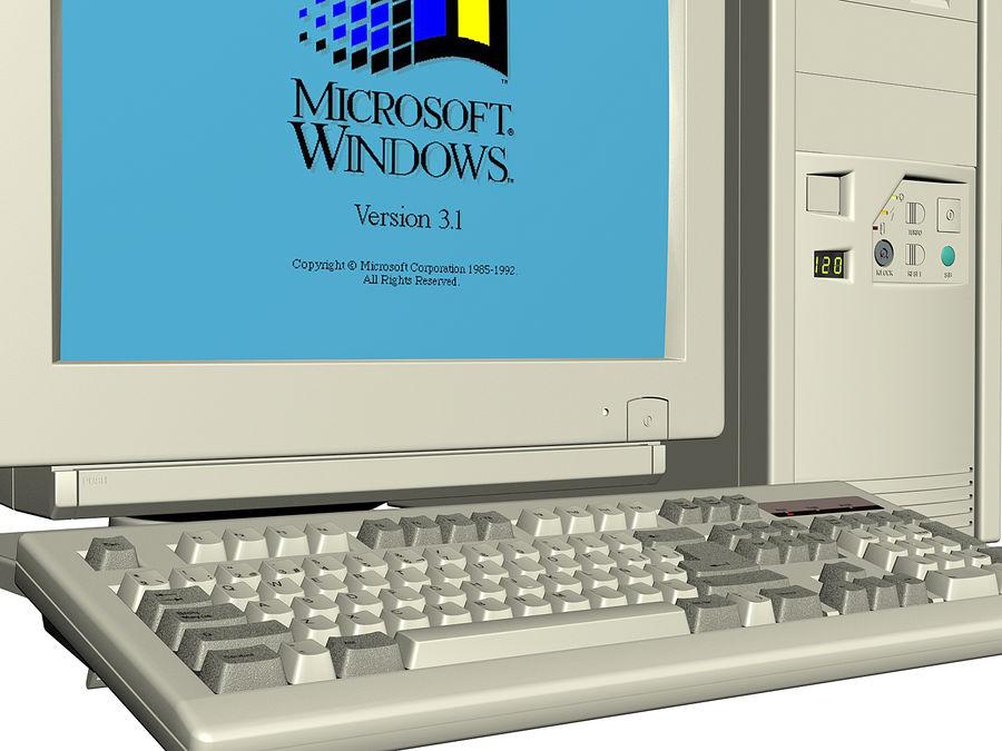 Gammal personlig dator för PC för vintage royalty-free 3d model - Preview no. 5