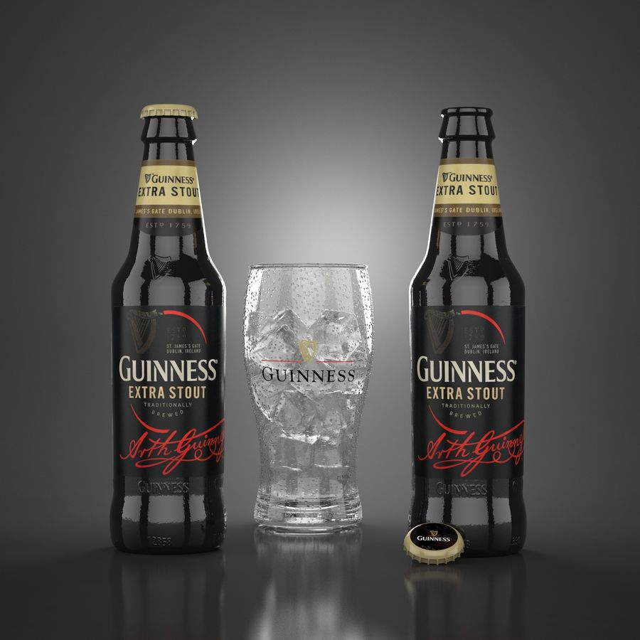 Piwo Guinness Extra Stout royalty-free 3d model - Preview no. 1