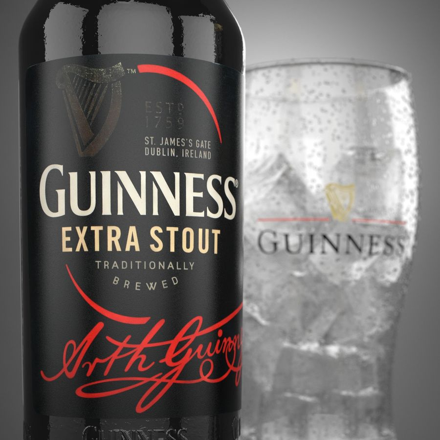 Piwo Guinness Extra Stout royalty-free 3d model - Preview no. 3