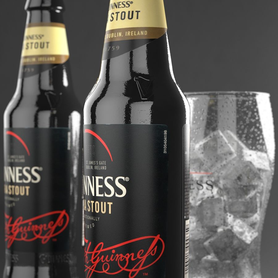 Piwo Guinness Extra Stout royalty-free 3d model - Preview no. 4