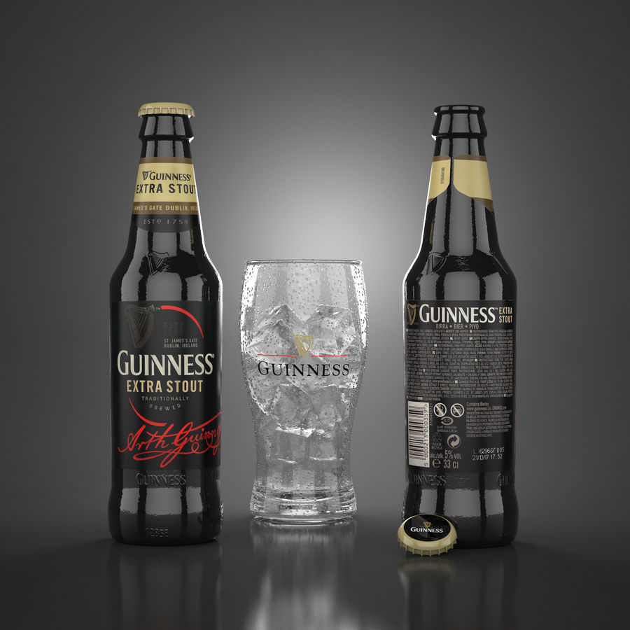 Piwo Guinness Extra Stout royalty-free 3d model - Preview no. 2