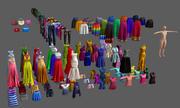 服、ドレス、ドレスアップ、シャツ、ジーンズ、ガウン、スカート 3d model