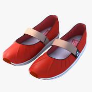 Женщина красные туфли 3d model