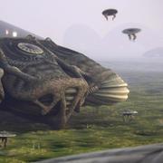 Ausländische Planetenszene mit organischem Mutterschiff 3d model