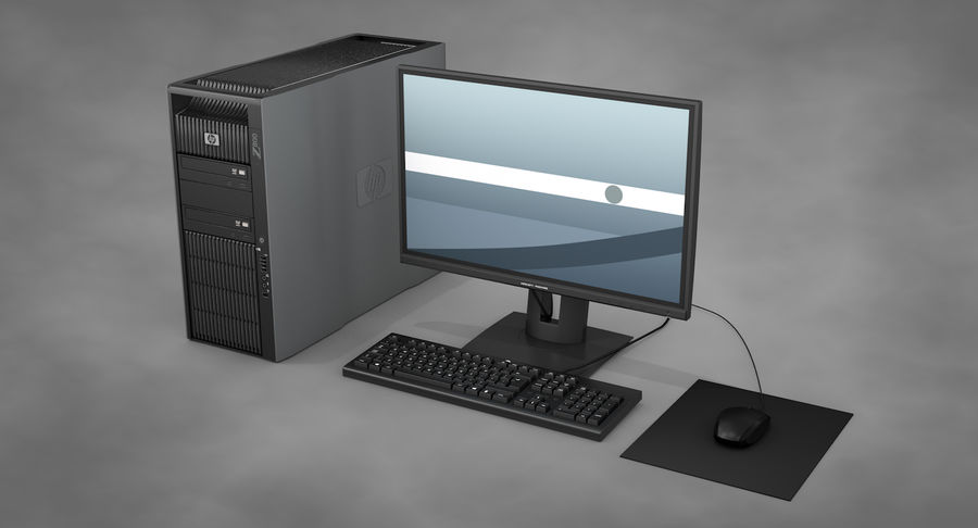 Workstation HP royalty-free 3d model - Preview no. 3