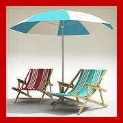 Krzesło plażowe i parasol 3d model