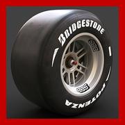Koło Formuły 1 (nowy slick, obręcz i hamulce) 3d model