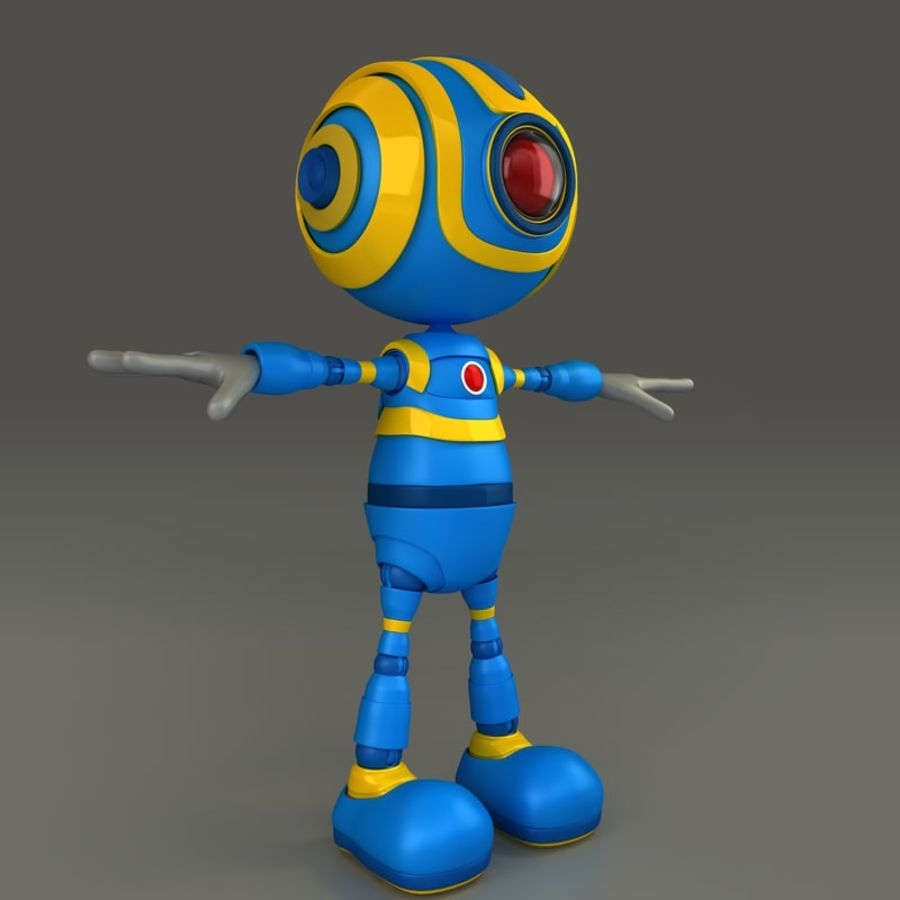 Blauwe robot royalty-free 3d model - Preview no. 6