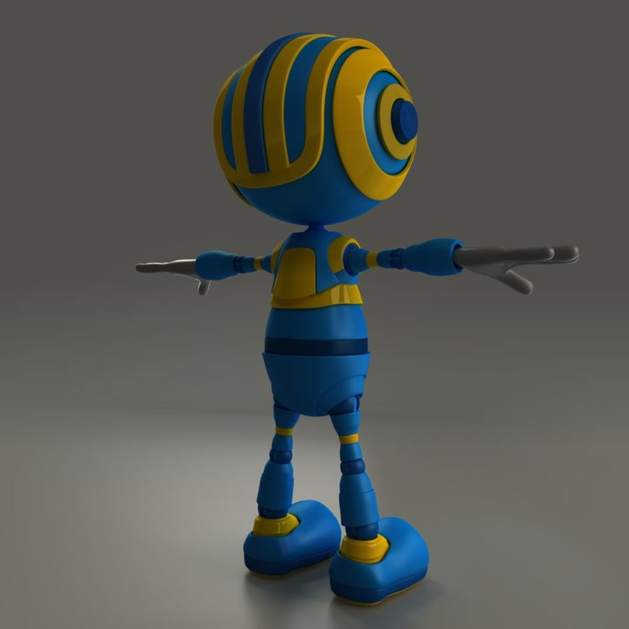 Blauwe robot royalty-free 3d model - Preview no. 5