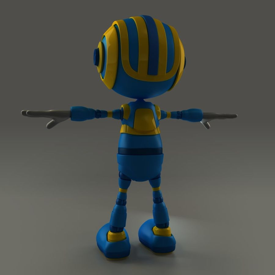 Blauwe robot royalty-free 3d model - Preview no. 4