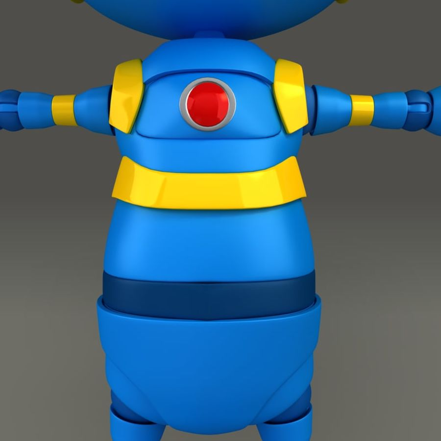 Blauwe robot royalty-free 3d model - Preview no. 10