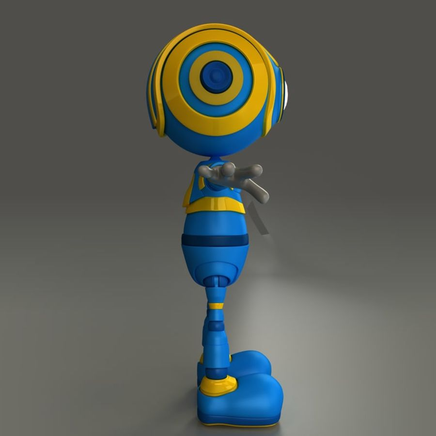 Blauwe robot royalty-free 3d model - Preview no. 3