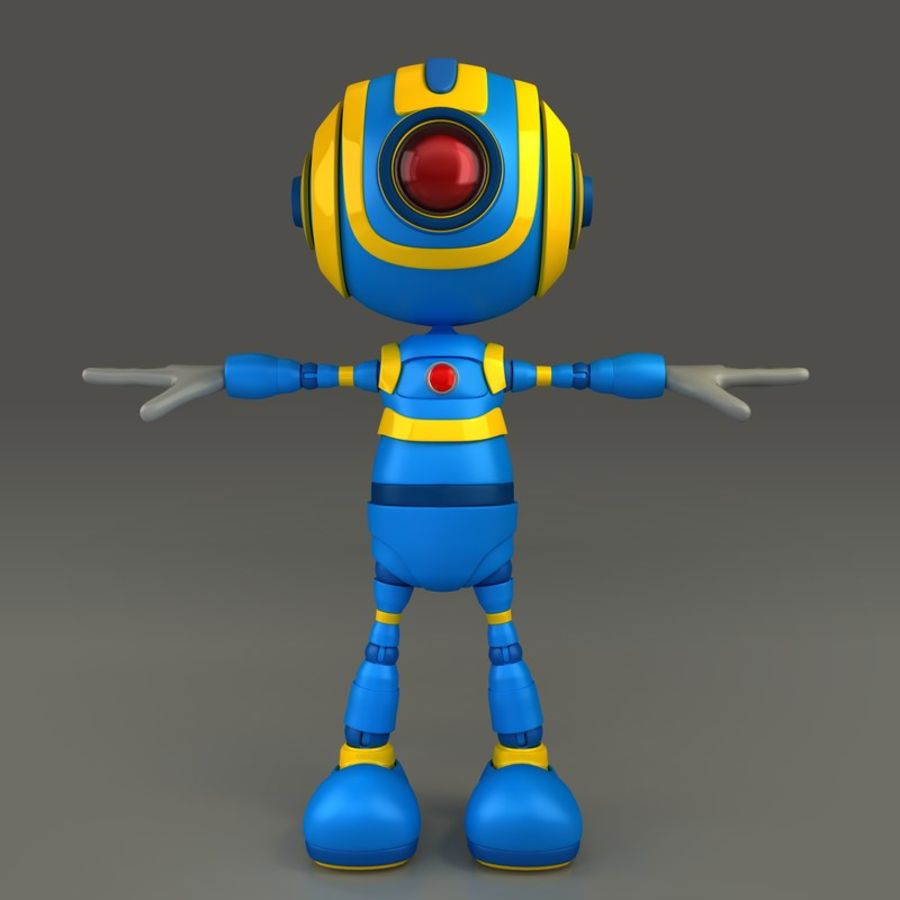 Blauwe robot royalty-free 3d model - Preview no. 2