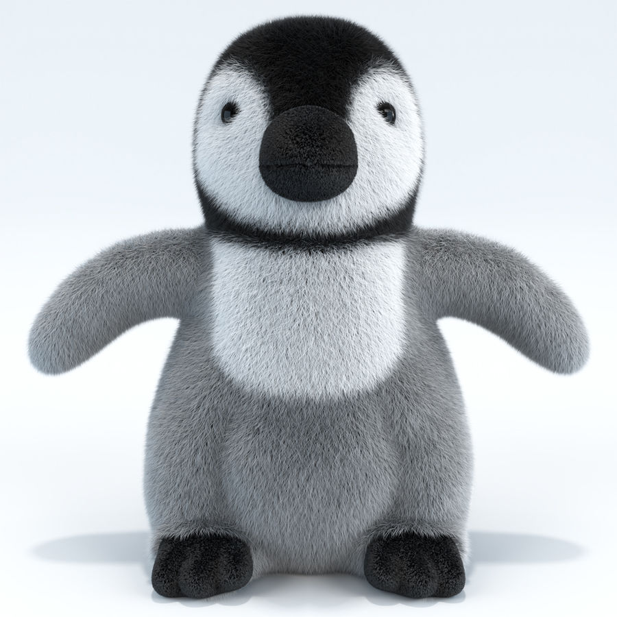 Baby Emperor Penguin Plush royalty-free 3d model - Preview no. 2