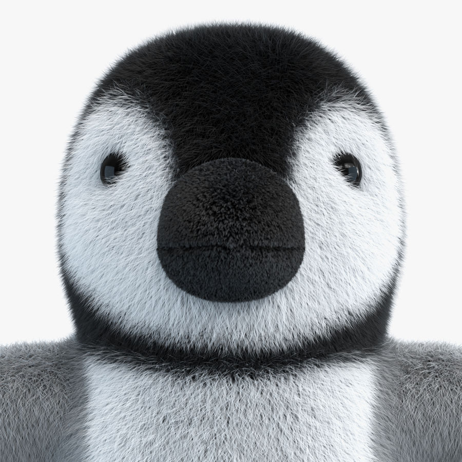 Baby Emperor Penguin Plush royalty-free 3d model - Preview no. 3