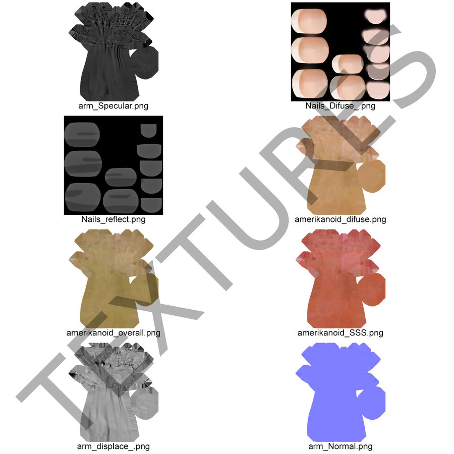 Main femelle truquée pour Maya royalty-free 3d model - Preview no. 46