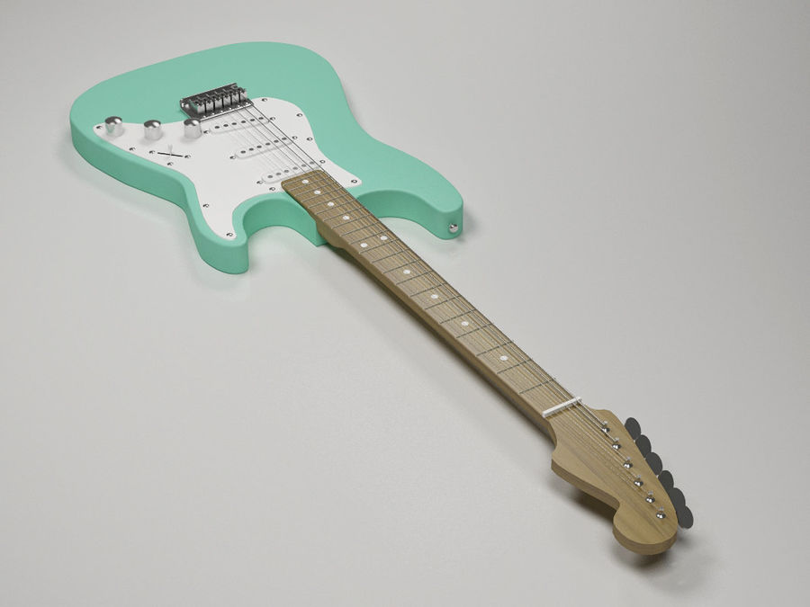 Electric guitar Fender Stratocaster royalty-free 3d model - Preview no. 5