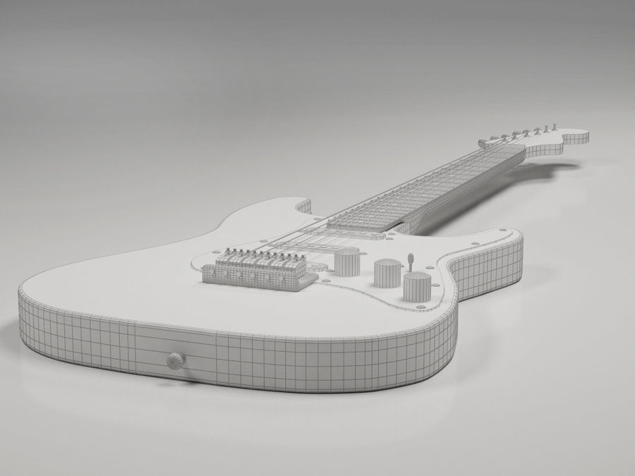 Guitarra elétrica Fender Stratocaster royalty-free 3d model - Preview no. 7