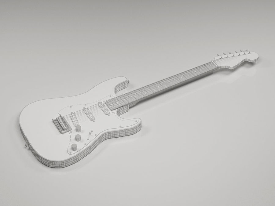 Electric guitar Fender Stratocaster royalty-free 3d model - Preview no. 6