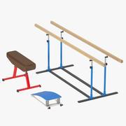 体操器材:木板,山羊,体操桥。 3d model