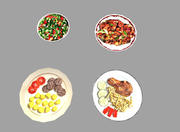 4 låga poly måltider 3d model