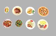 8 låg poly måltider paket 3d model