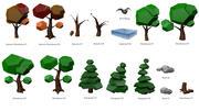 Set di alberi bassi e ambiente basso 3d model