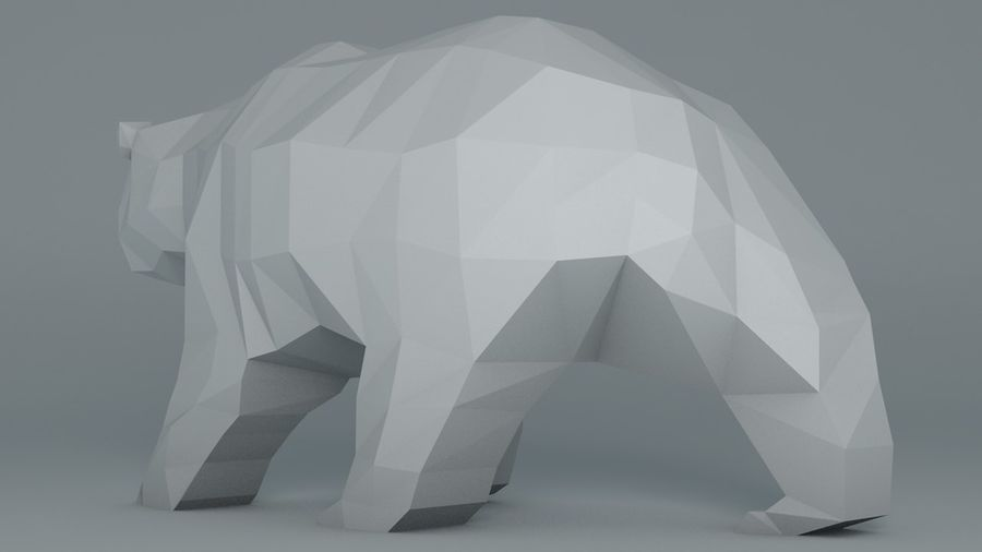 Niedźwiedź Grizzly Cartoon Low Poly royalty-free 3d model - Preview no. 5