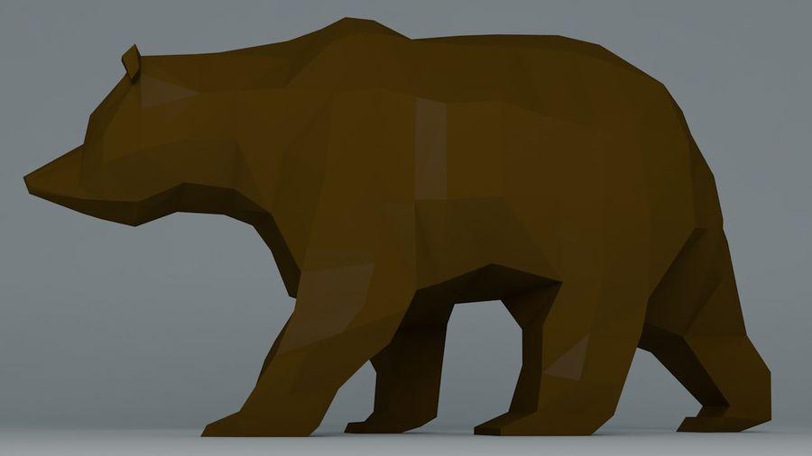 Niedźwiedź Grizzly Cartoon Low Poly royalty-free 3d model - Preview no. 3