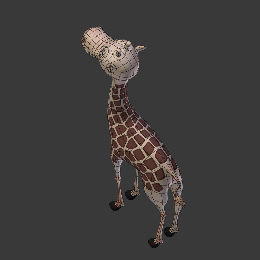 Toy Giraffe Cartoon royalty-free 3d model - Preview no. 11