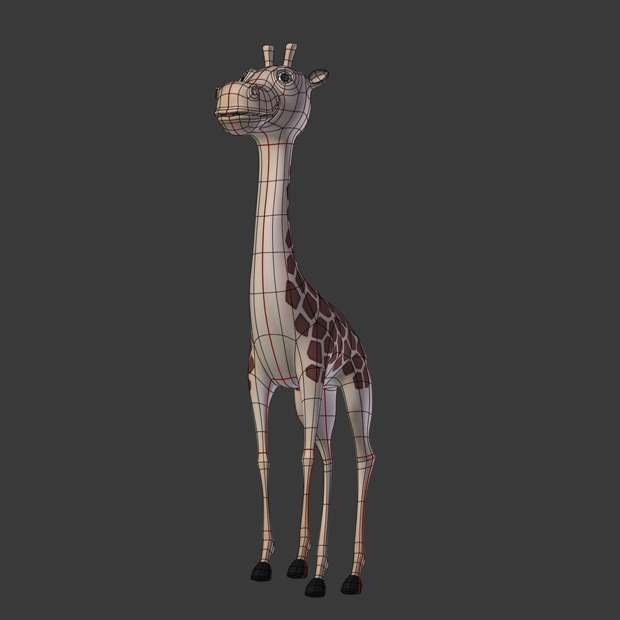 Toy Giraffe Cartoon royalty-free 3d model - Preview no. 6