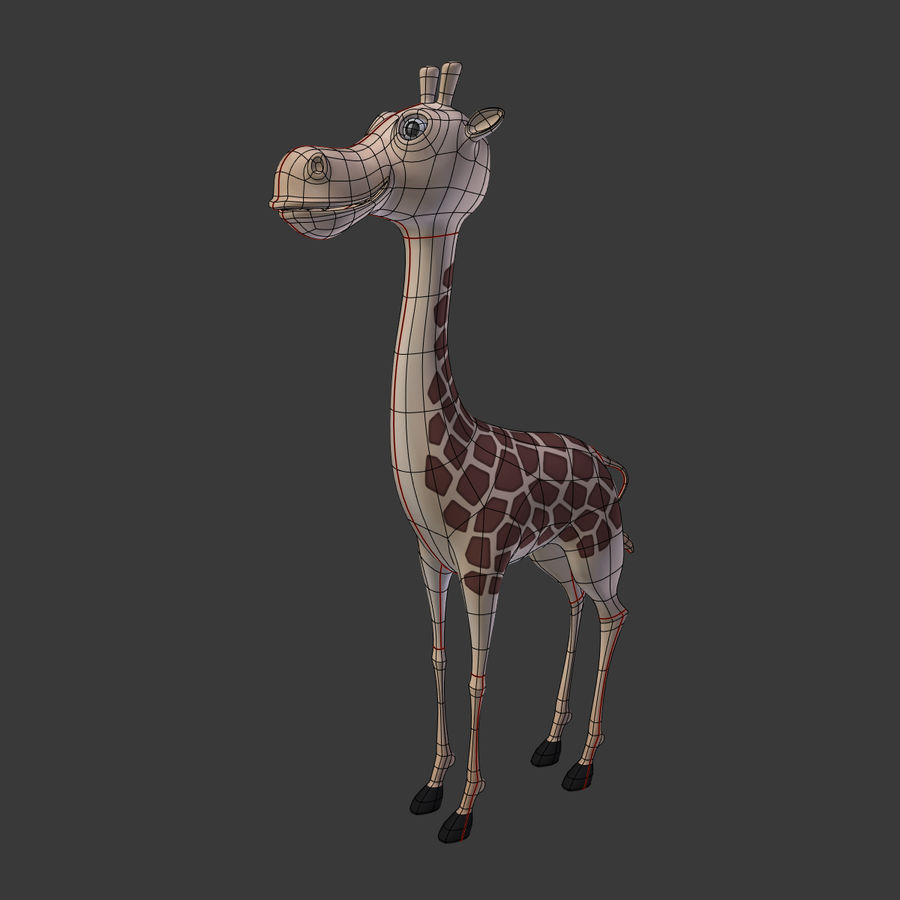 Toy Giraffe Cartoon royalty-free 3d model - Preview no. 3