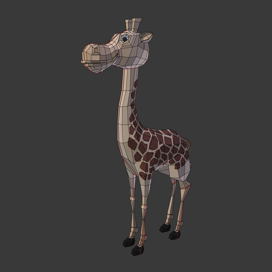 Toy Giraffe Cartoon royalty-free 3d model - Preview no. 4