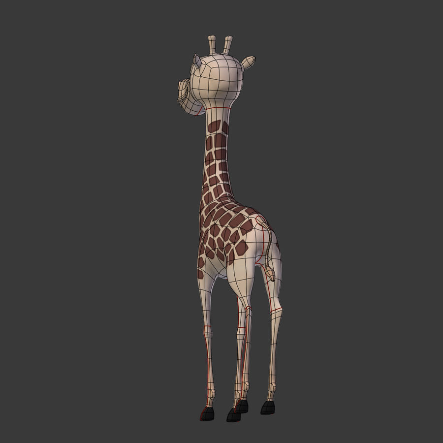 Toy Giraffe Cartoon royalty-free 3d model - Preview no. 8