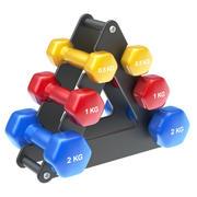 Stack di manubri con manubri fitness 3d model