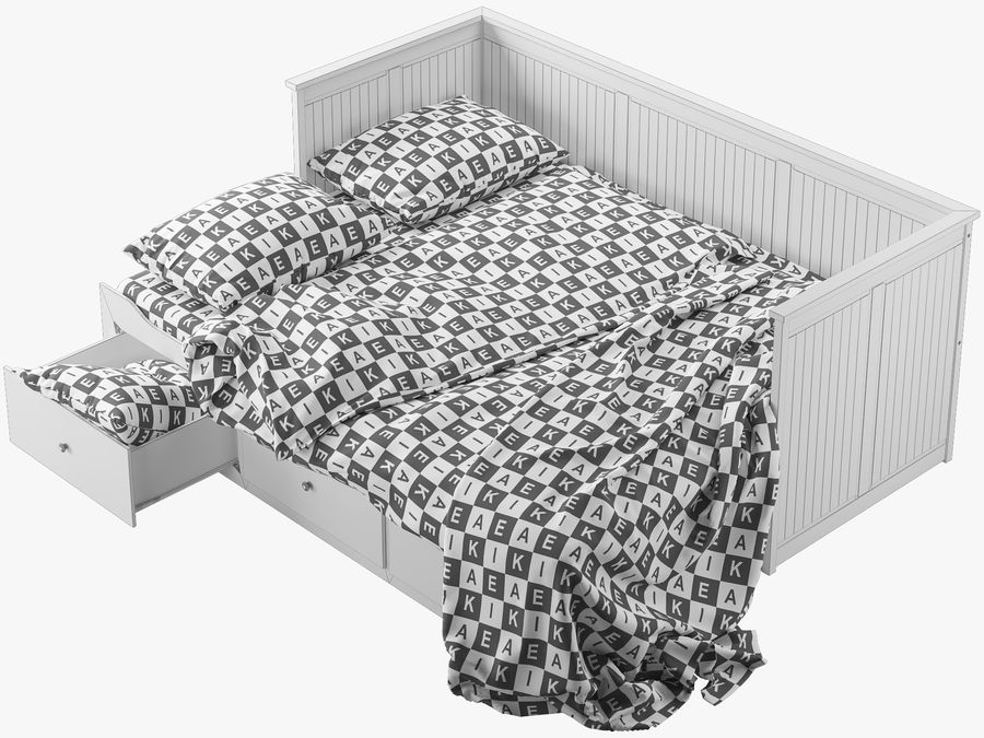 IKEA HEMNES cama 2 royalty-free 3d model - Preview no. 8