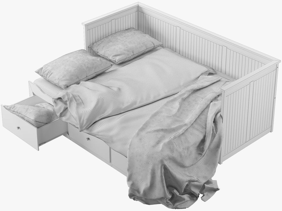 IKEA HEMNES cama 2 royalty-free 3d model - Preview no. 9