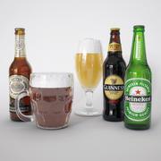 Пиво в бутылках и тоби 3d model