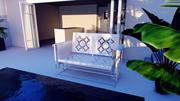 скамейка - сад - сад 3d model