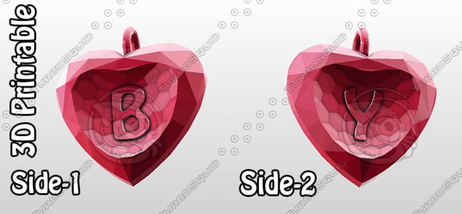 3D Yazdırılabilir Valentine tarafından Crystal-Heart-TwoLetters Kolye royalty-free 3d model - Preview no. 1