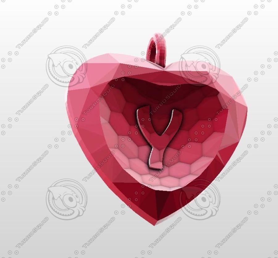 3D Yazdırılabilir Valentine tarafından Crystal-Heart-TwoLetters Kolye royalty-free 3d model - Preview no. 11