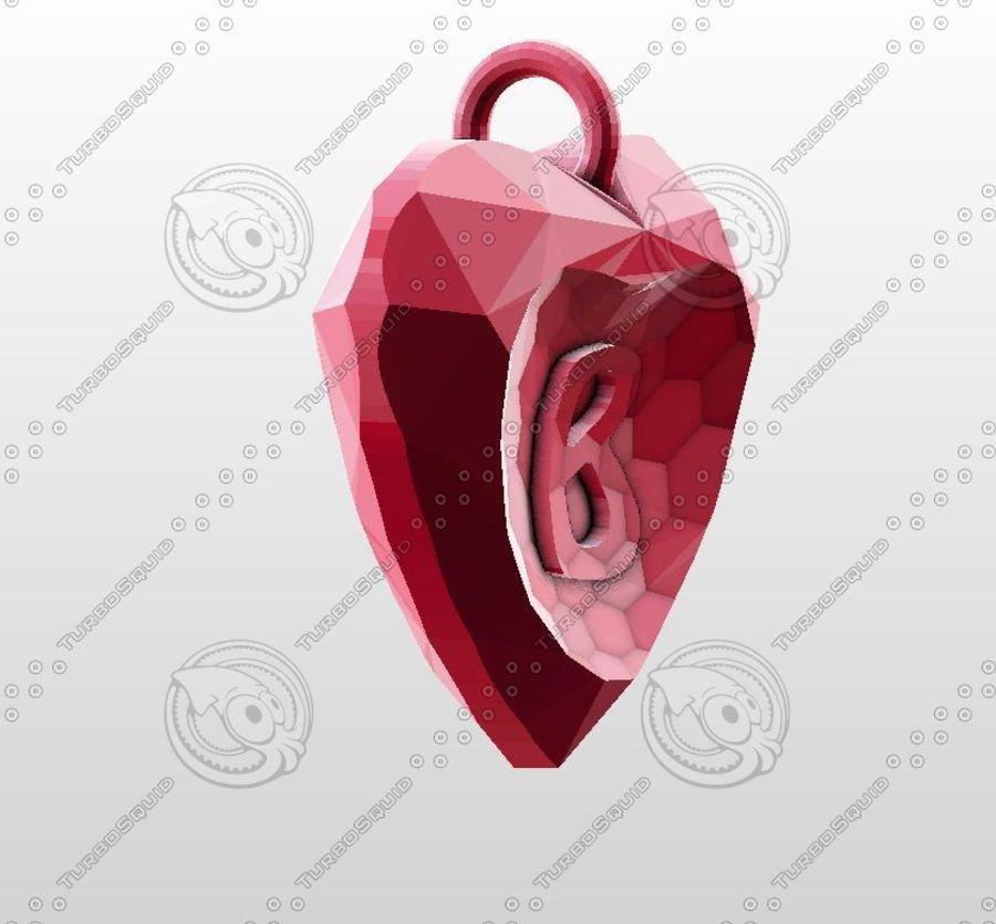3D Yazdırılabilir Valentine tarafından Crystal-Heart-TwoLetters Kolye royalty-free 3d model - Preview no. 5