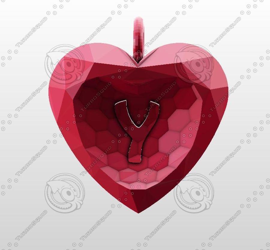 3D Yazdırılabilir Valentine tarafından Crystal-Heart-TwoLetters Kolye royalty-free 3d model - Preview no. 10
