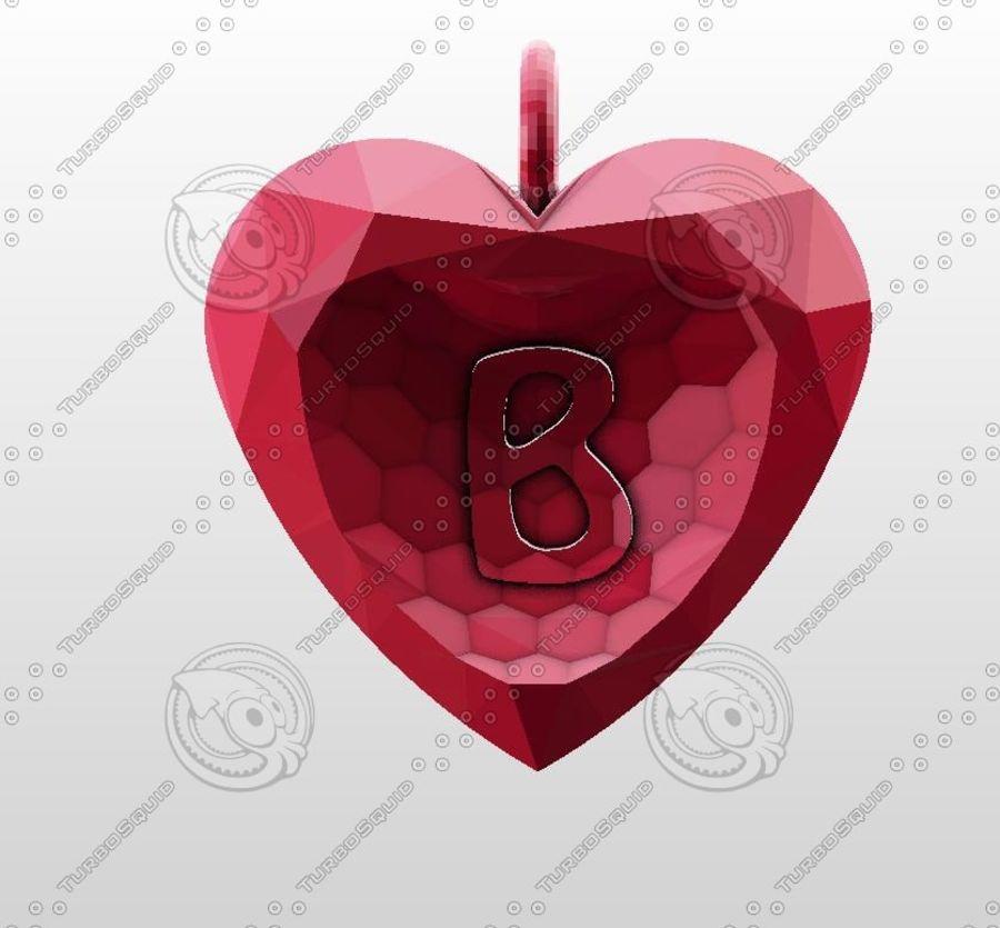 3D Yazdırılabilir Valentine tarafından Crystal-Heart-TwoLetters Kolye royalty-free 3d model - Preview no. 3