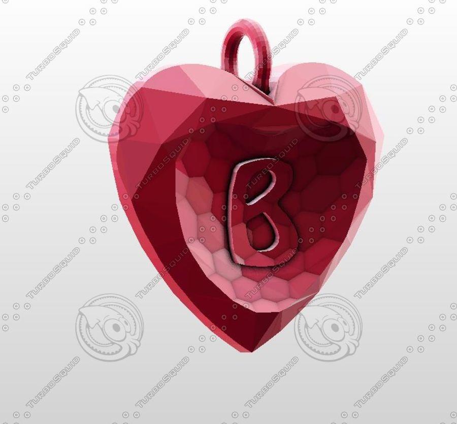 3D Yazdırılabilir Valentine tarafından Crystal-Heart-TwoLetters Kolye royalty-free 3d model - Preview no. 4