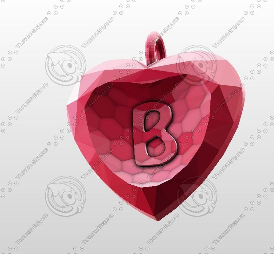 3D Yazdırılabilir Valentine tarafından Crystal-Heart-TwoLetters Kolye royalty-free 3d model - Preview no. 6
