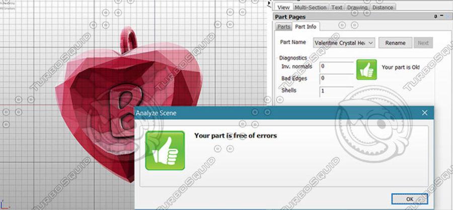 3D Yazdırılabilir Valentine tarafından Crystal-Heart-TwoLetters Kolye royalty-free 3d model - Preview no. 2